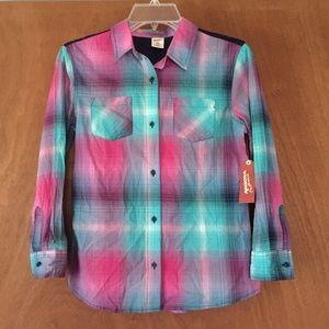 Arizona jeans girls T-Shirt size 14 plaid long slv